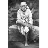 Black and white picture of Saibaba